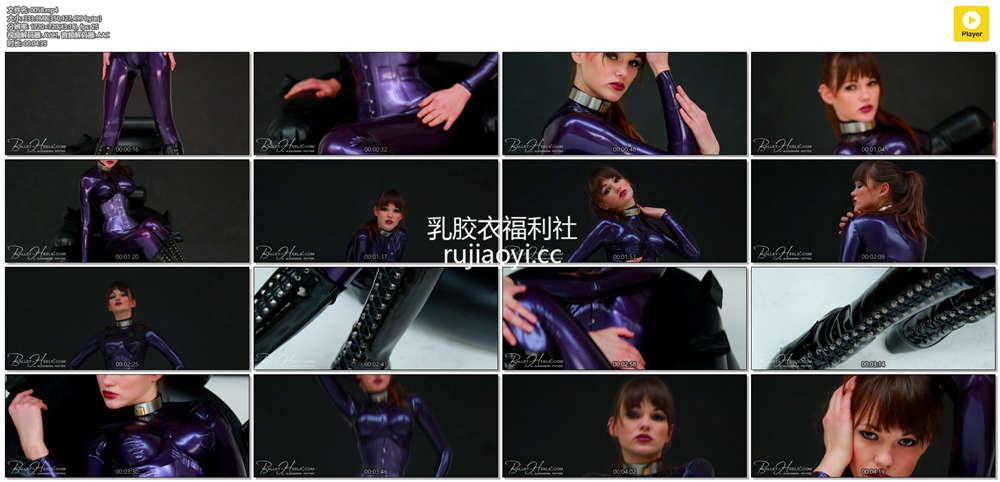 [永V专享-独家精品乳胶衣视频] 小妹妹颈圈紫色紧身衣身姿傲人(二)-720P高清视频 [1V/333M]